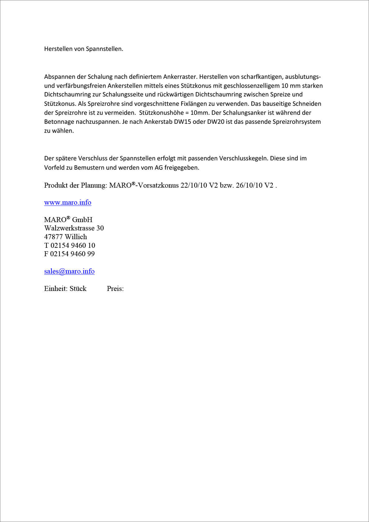 Vorsatzkonus 22/10/10 V2 bzw. 26/10/10 V2