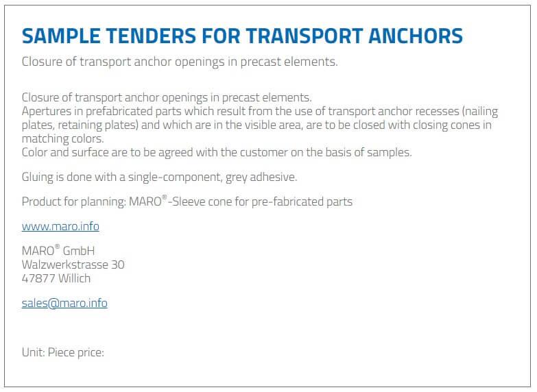 Sample tenders for transport anchors