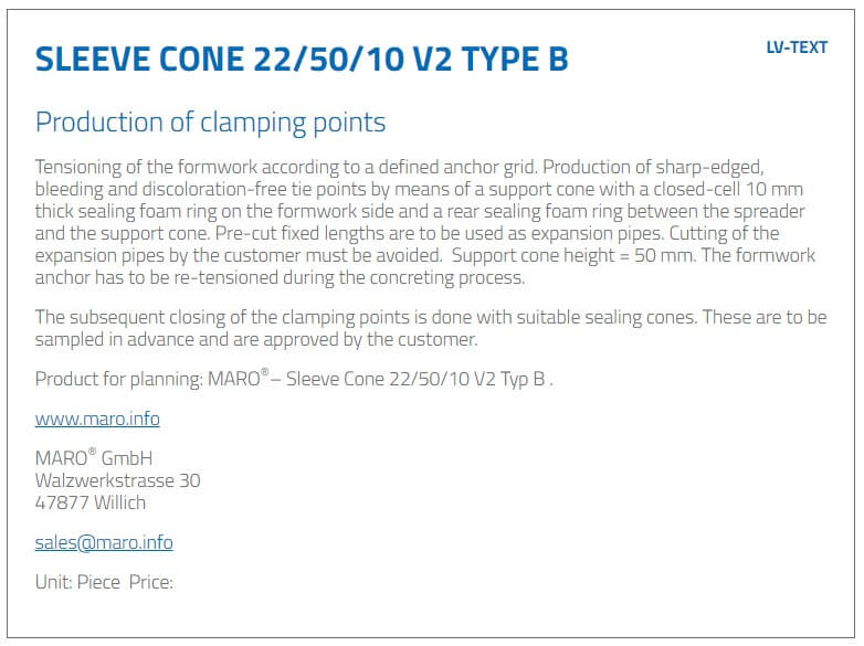 Sleeve Cone 22/50/10 V2 Typ B