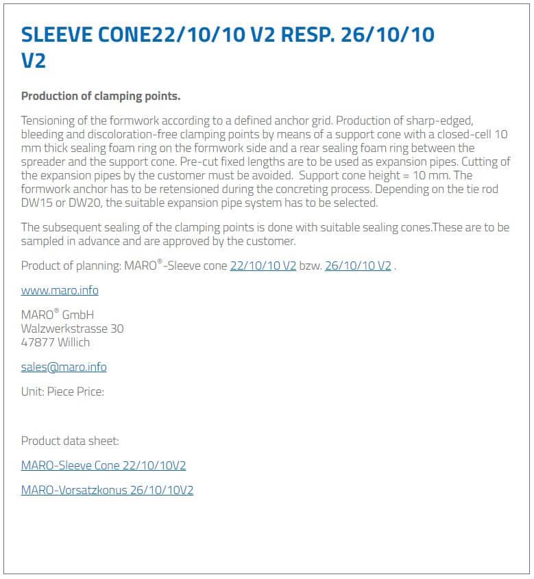 Sleeve Cone 22/10/10 V2 resp. 26/10/10 V2